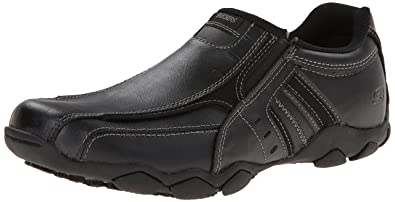 Skechers USA Men's Diameter-Nerves Slip-On Loafer,Black Leather,6.5 M