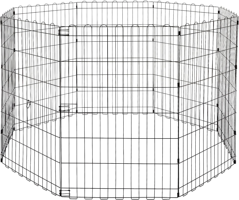 AmazonBasics - Parque de juegos y ejercicios para mascotas, paneles de valla metálica, plegable, 152,4 x 152,4 x 91,4 cm