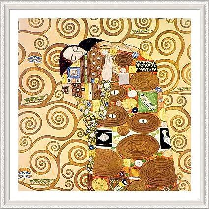 4d1693f5507 Alonline Art - The Embrace Gustav Klimt White FRAMED POSTER (Print on 100%  Cotton