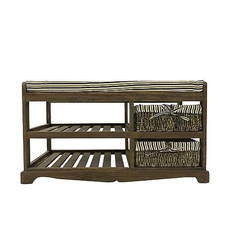 Rebecca Mobili Banco con 2 cestas y 2 estantes, Asiento en Madera y Mimbre, marrón para el hogar, Pasillo jardín - Medidas: 30x30x30 cm (AxANxF) - ...