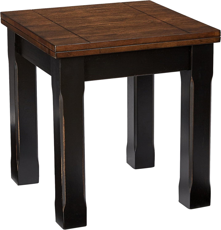 Lane Home Furnishings End Table, Black/Oak