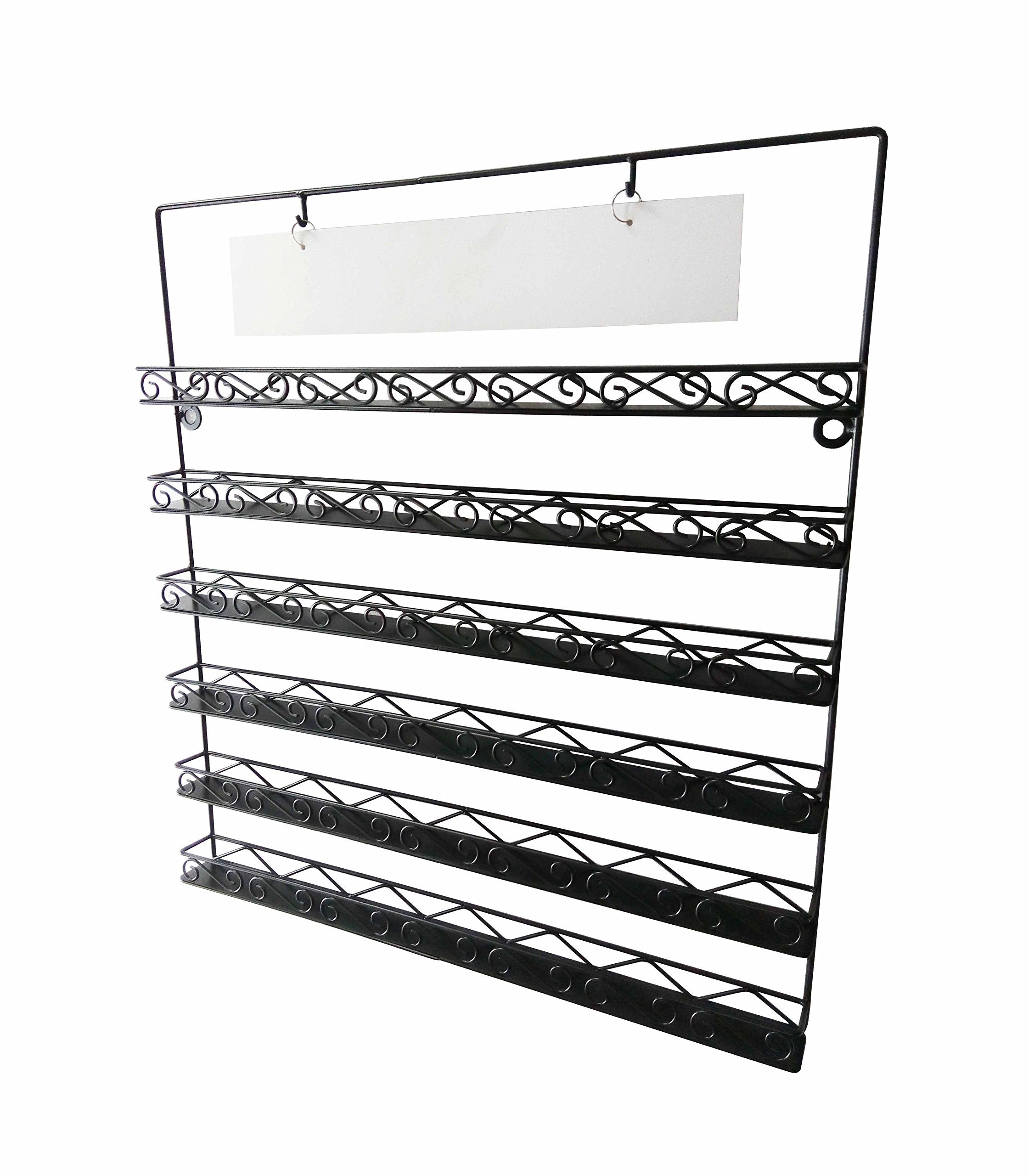 FixtureDisplays 6-Tier Wire Display Rack for Wall Mount Use, Holds Nail Polish, Sign Included-Black119353 119353