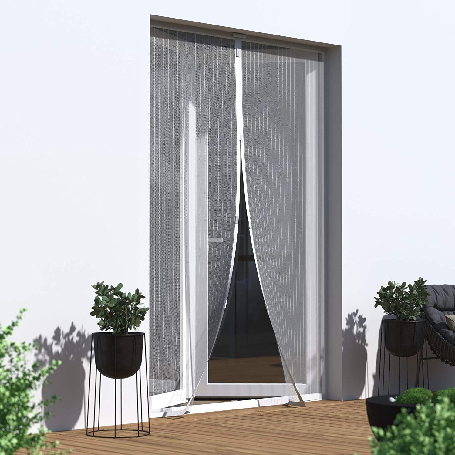 JAROLIFT Magnetic Insect Screen Curtain 160 x 230 cm White in Height und Width Cut to Size