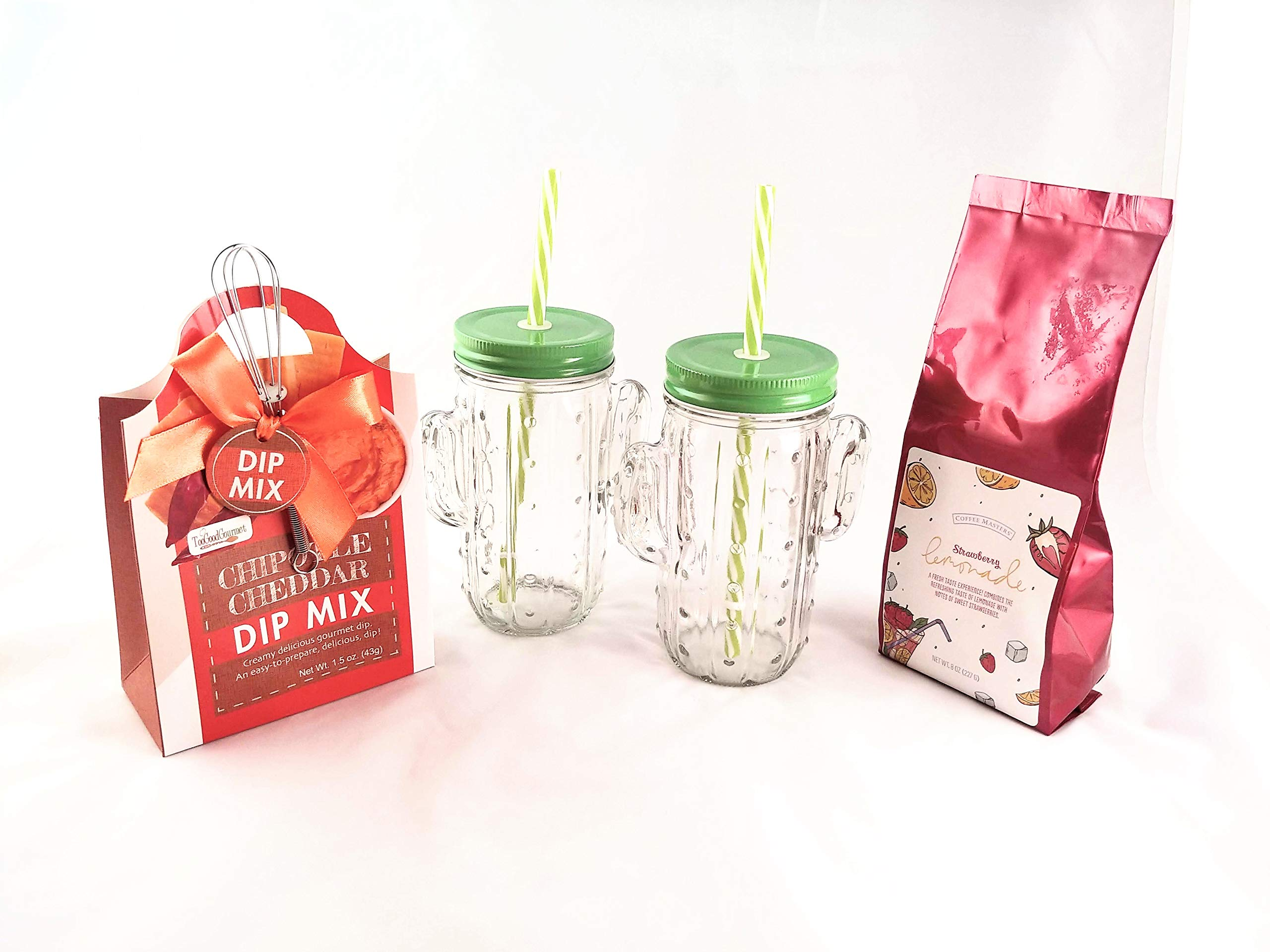 Cactus Glasses Bundle with 2 Cactus Mugs with Lids and Straws, Strawberry Lemonade Mix, and Chipotle Cheddar Dip Mix