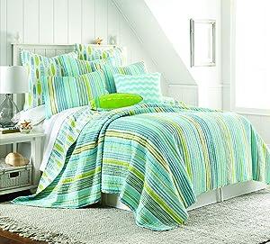 Levtex Home Beach Break Full/Queen Quilt, Coastal, 100% Cotton, Aqua, Lime, White