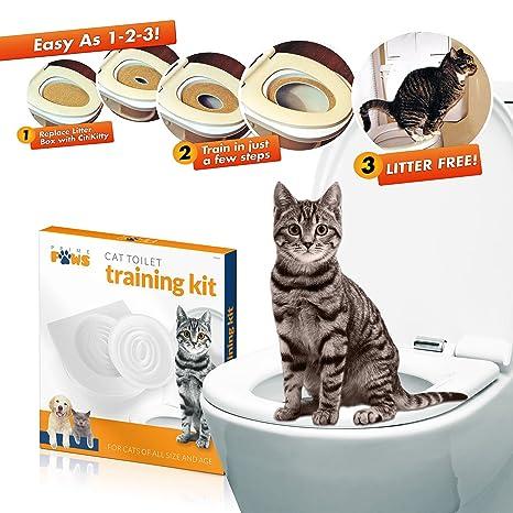 Prime Paws Kit de Bandeja para Inodoro para Gatos con Punta de Gato