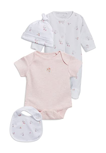 next Bebé-Niñas Conjunto De Pijama Tipo Pelele, Body De Mangas Cortas, Babero