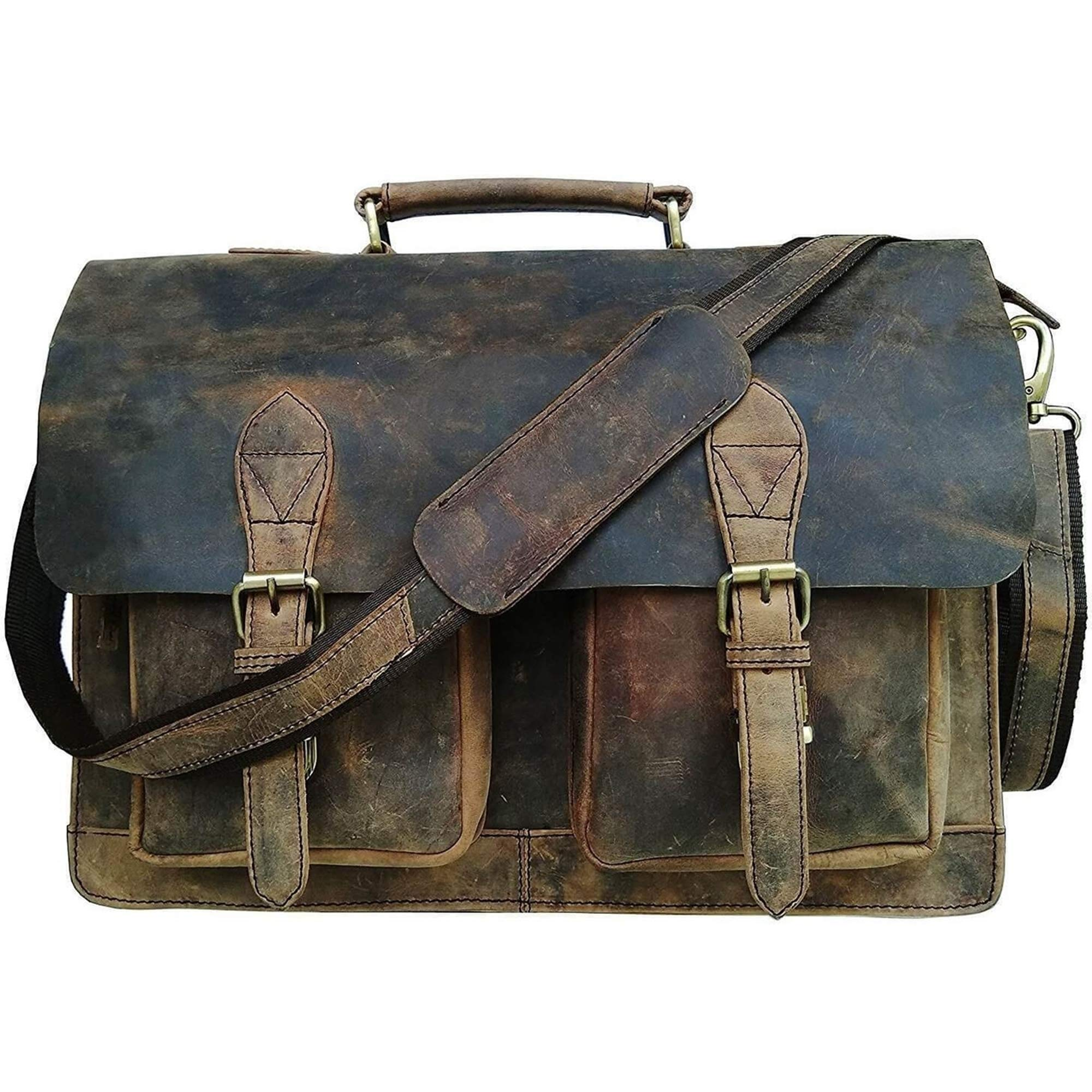 Retro Buffalo Hunter Leather Laptop Messenger Bag Office Briefcase College Bag by Urban Hide (18'') by Urban Hide (Image #2)