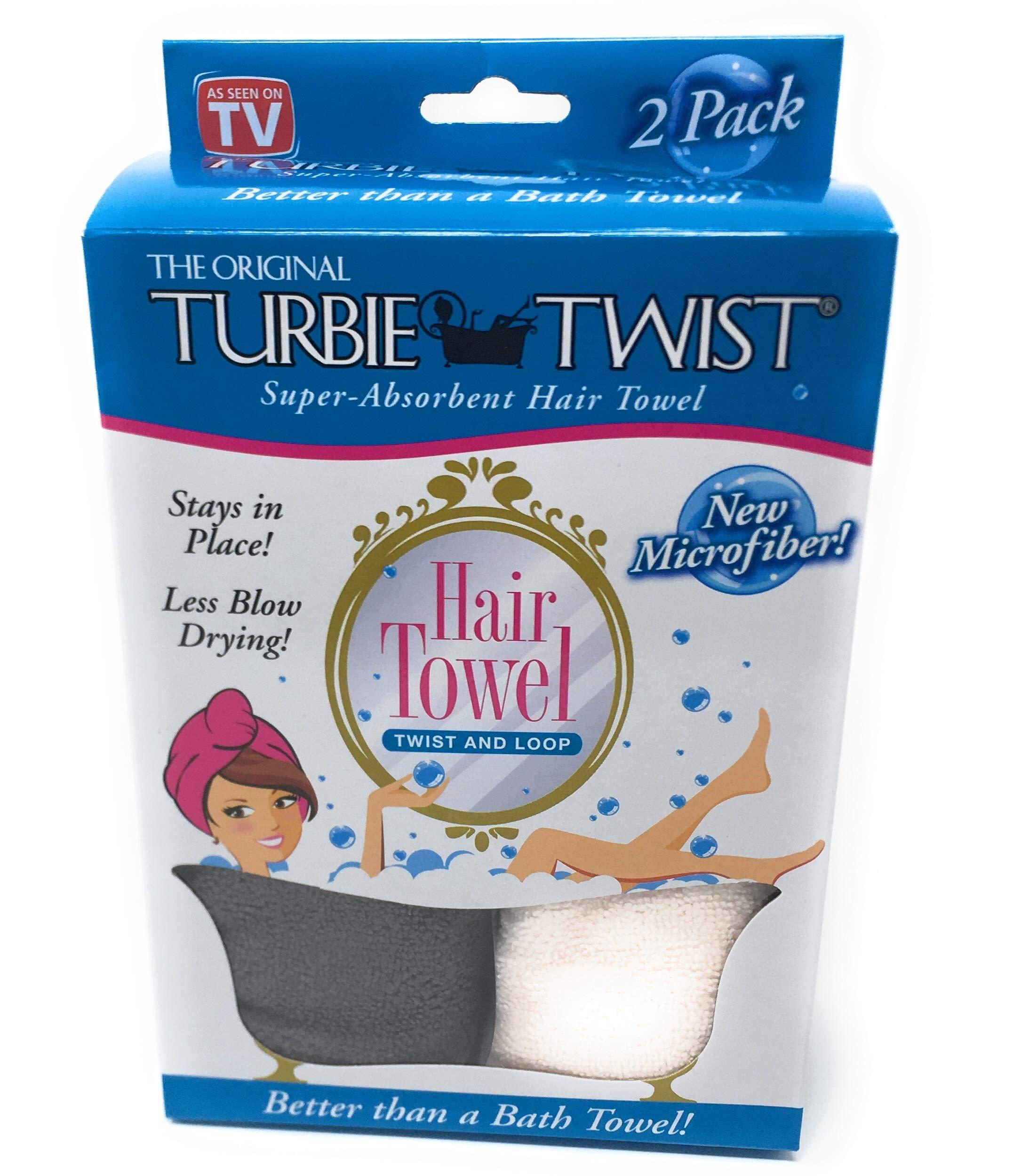 Turbie Twist Microfiber Hair Towel (2 Pack) Grey-Light Pink by Turbie Twist