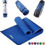 Syourself NBR Tappetino da Yoga-183cmx61cmx 1cm-Antiscivolo, Extra Spesso,Fitness Palestra Yogamatte per Ginnastica Esercizi,Campeggio,Stretching,Pilates con fascetta per il Trasporto, Borsa(Blau)