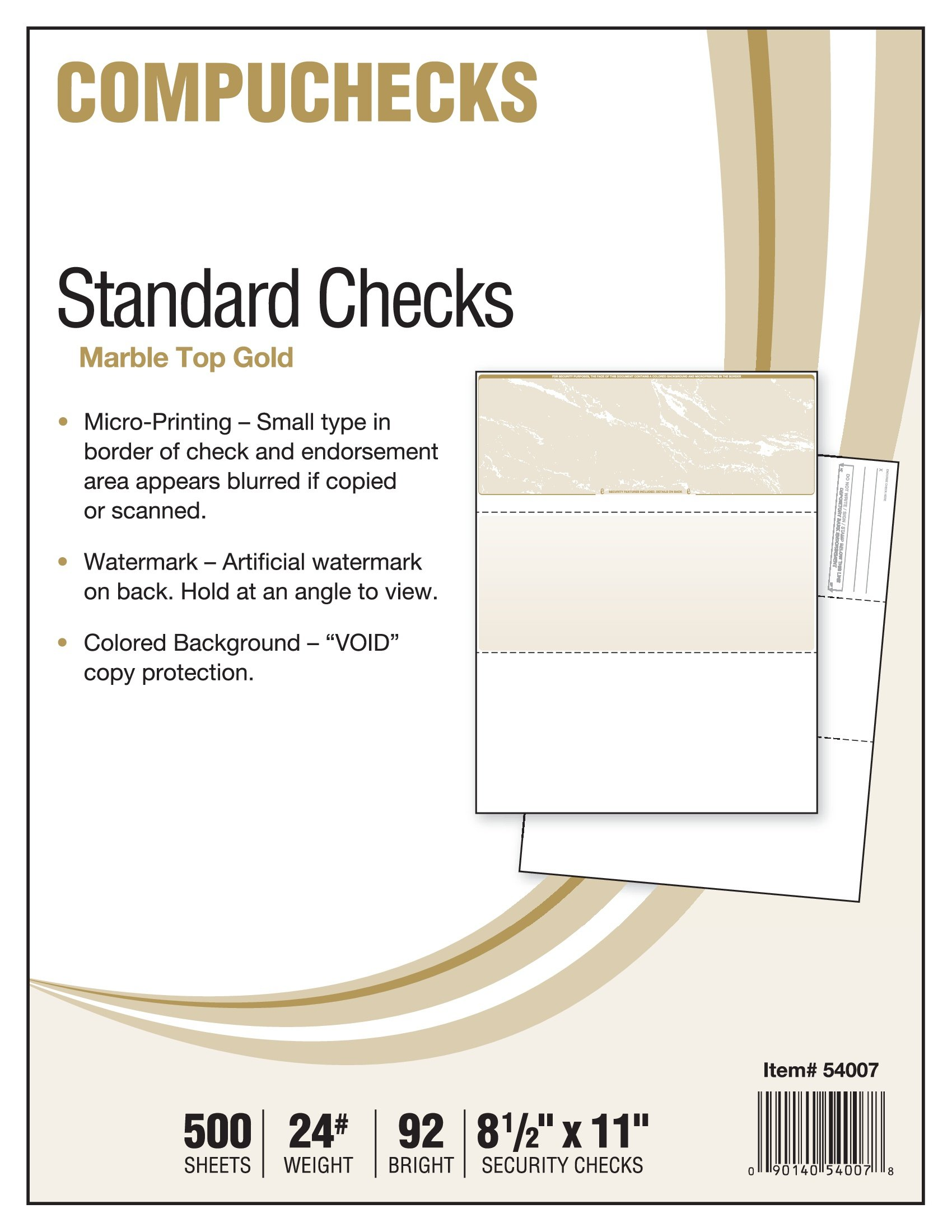 500 Blank Check Stock - Check on Top - Gold Marble by Compuchecks