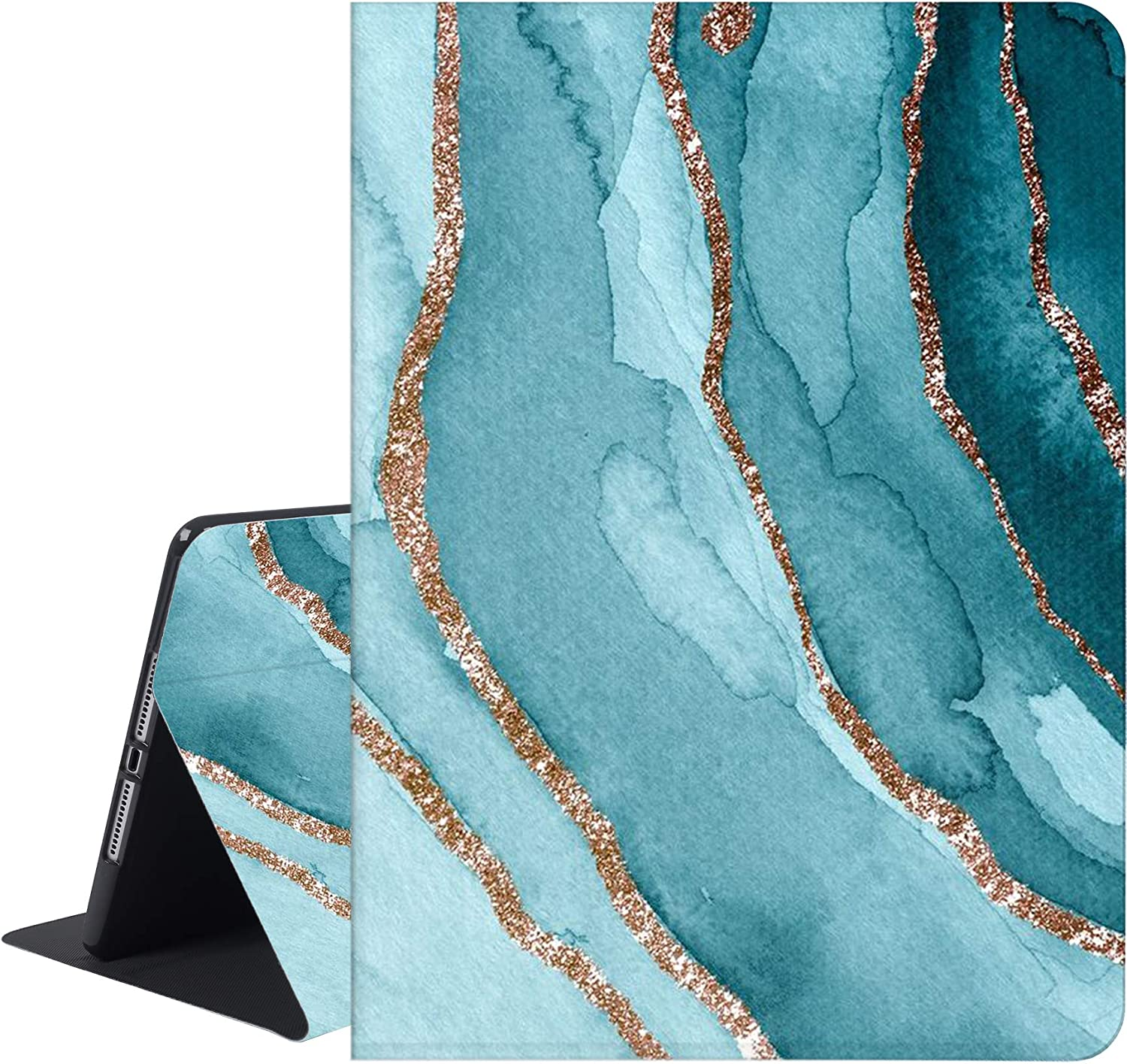 RicHyun Marble iPad 9.7 Case 2017/2018, iPad Air 1/2 Case, Protective Folio Leather Case with Soft Rubber Back Cover, Adjustable Stand Smart Case for Apple iPad 6th 5th Generation, Blue-Gold Marble