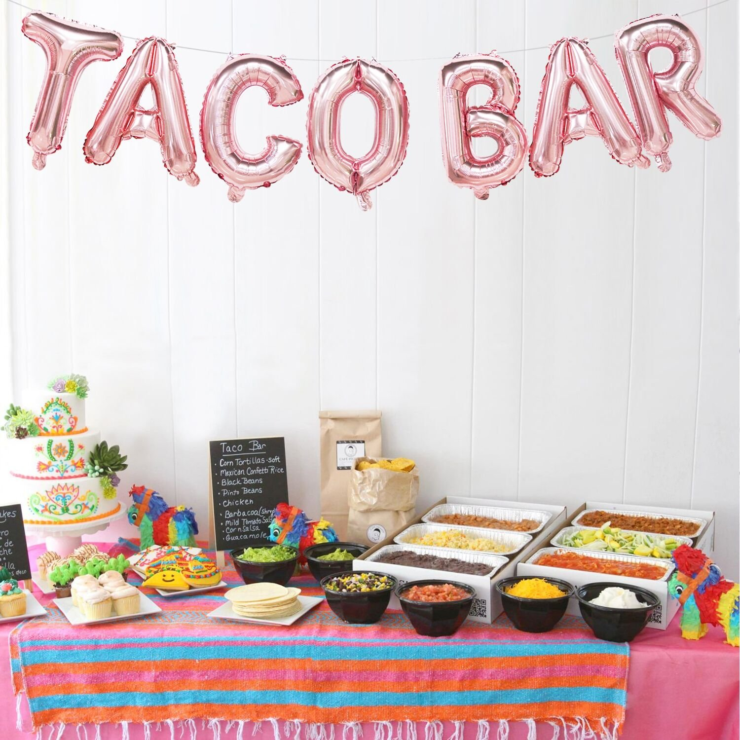 Amazon.com: Taco Bar Balloons Rose Gold | Taco Bar Banner Sign | Taco Bar Decorations for Wedding, Baby Shower, Bridal Shower, Engagement, Fiesta Party, ...