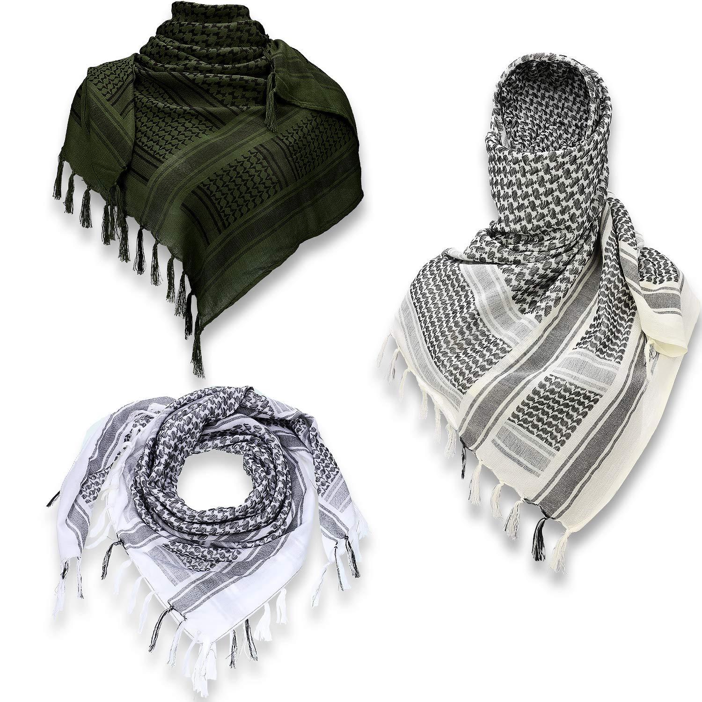 3 Piezas Bufanda Shemagh Bufanda /Árabe de Unisex Bufanda de Desierto de Algod/ón