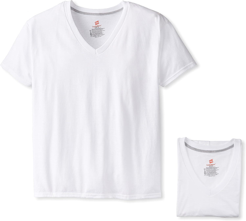 White, Hanes Ultimate Mens 4-Pack ComfortBlend V-Neck with FreshIQ