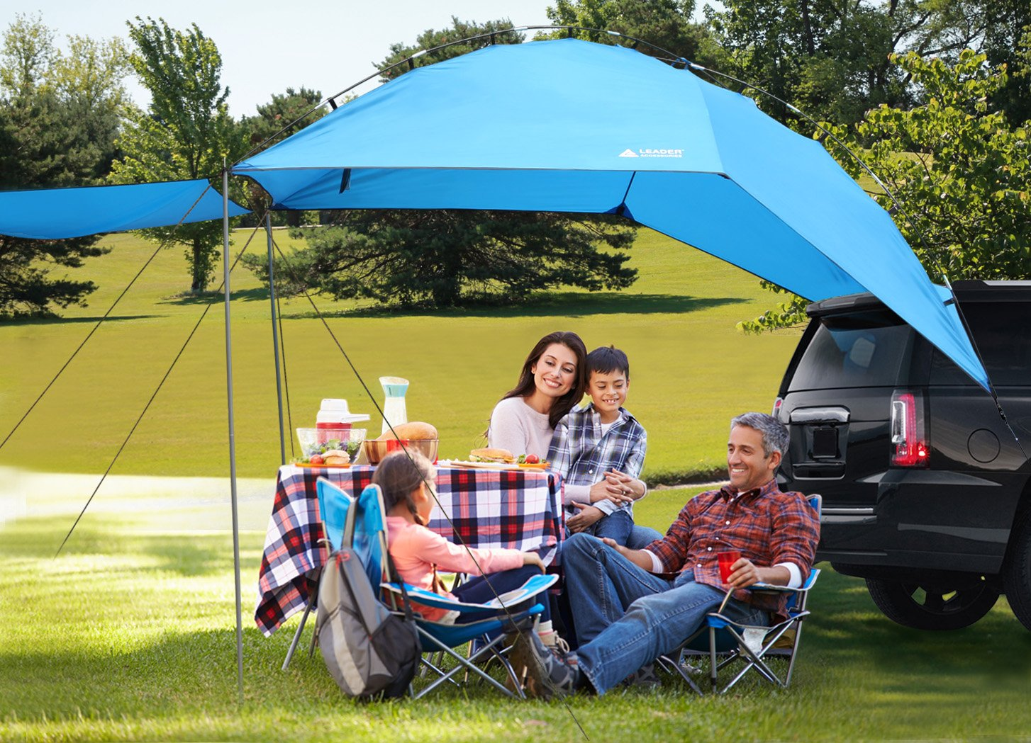 Leader Accessories Easy Set Up Camping SUV Tent/Awning/Canopy/ Sun Shelter Tailgate Tent Beach Tent Suitable For SUV Mini Van Campers RVs Waterproof With Adjustable Sunwall (78.7''x59'') by Leader Accessories (Image #2)
