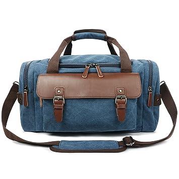 705d565a0db0e Oflamn Große Vintage Reisetasche Weekender Tasche Sporttasche Handgepäck  aus Canvas für Damen Herren (2.0 Blau