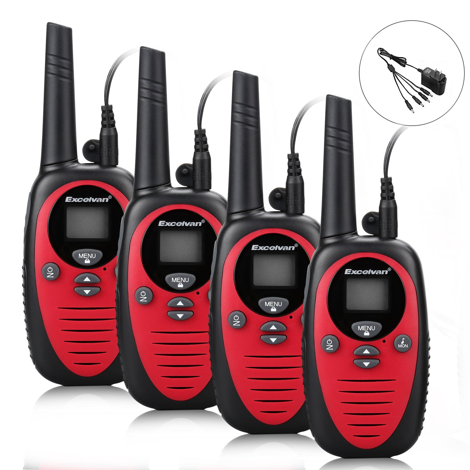 Excelvan 22 Channel FRS GMRS Dual Band 2 Way Radio Long Range Up to 3000M/1.9MI Range (MAX 3.1MI in Open Field) UHF Handheld Walkie Talkie with 1-to-4 Branch Power Adapter (4 Pack, Red)