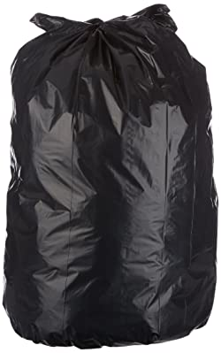 AmazonBasics 23 Gallon Slim Trash Can Liner Bag, 1.6 mil, Black, 250-Count