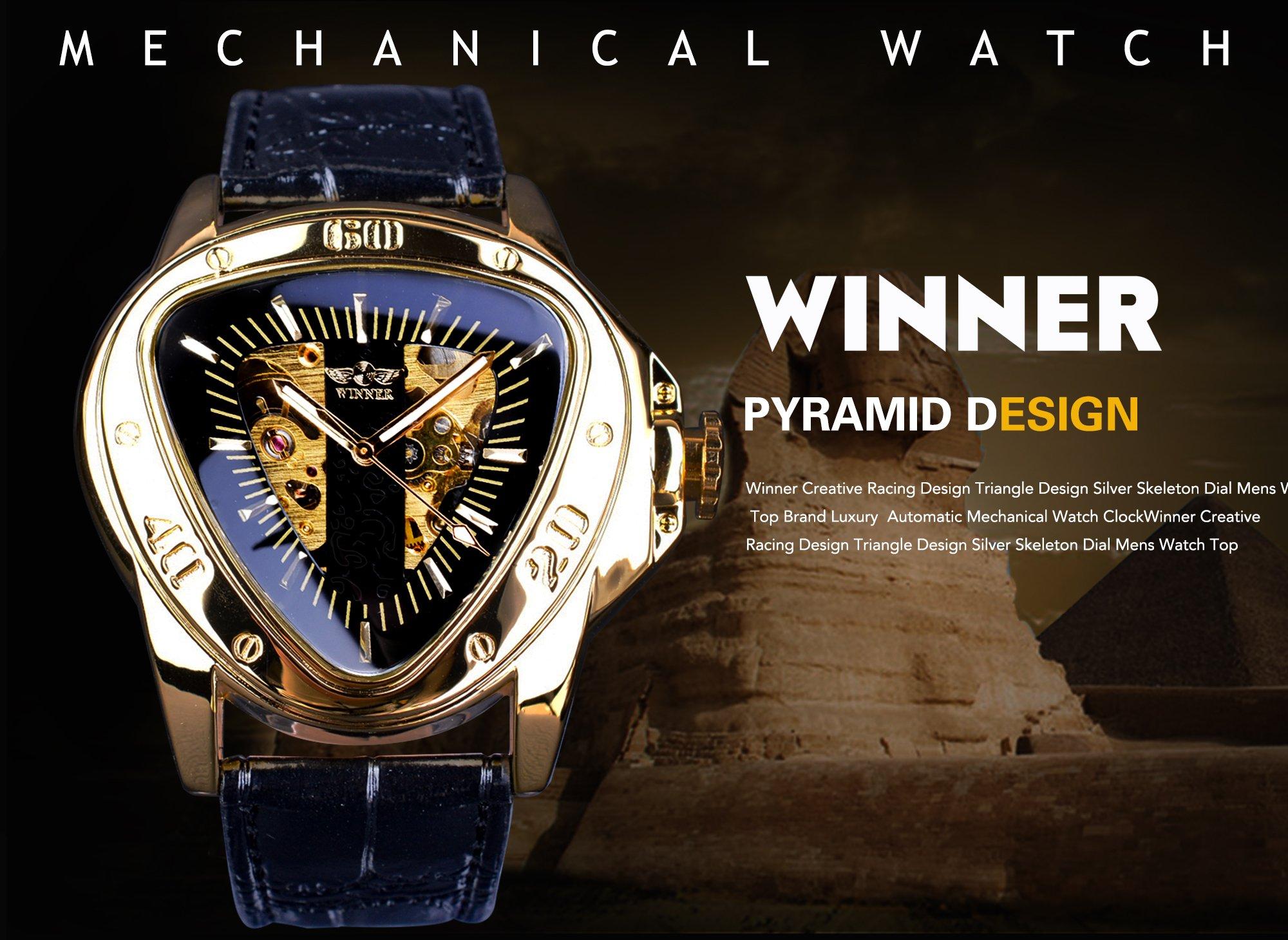 Winner Fashion Mechanical Wrist Watch Triangle Racing Dial Golden Skeleton Dial 4