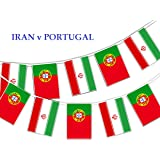 Party Decor Football World Cup 2018 - Group B 5th Match Iran v Portugal - Bunting Banner 16 flags for simply stylish Football World Cup by