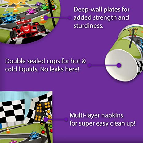 Partybloom Race Car Party Disposable Tableware with Race Car Plates Cups Napkins Banner More Serves 16 for Boys Kids Racing Birthday Party Decorations 115PCS Race Car Birthday Party Supplies