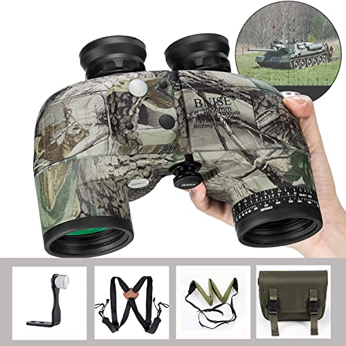 BNISE 10×50 Binoculars for Adults Marine Hunting Rangefinder Built-in Compass with Harness Strap, Professional Waterproof Long Distance Telescope BAK4 Porro Prism -Camo