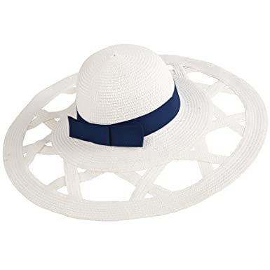 84789d7c Mud Pie Women's Fashion Casey Sun Hat (White/Navy) at Amazon Women's ...
