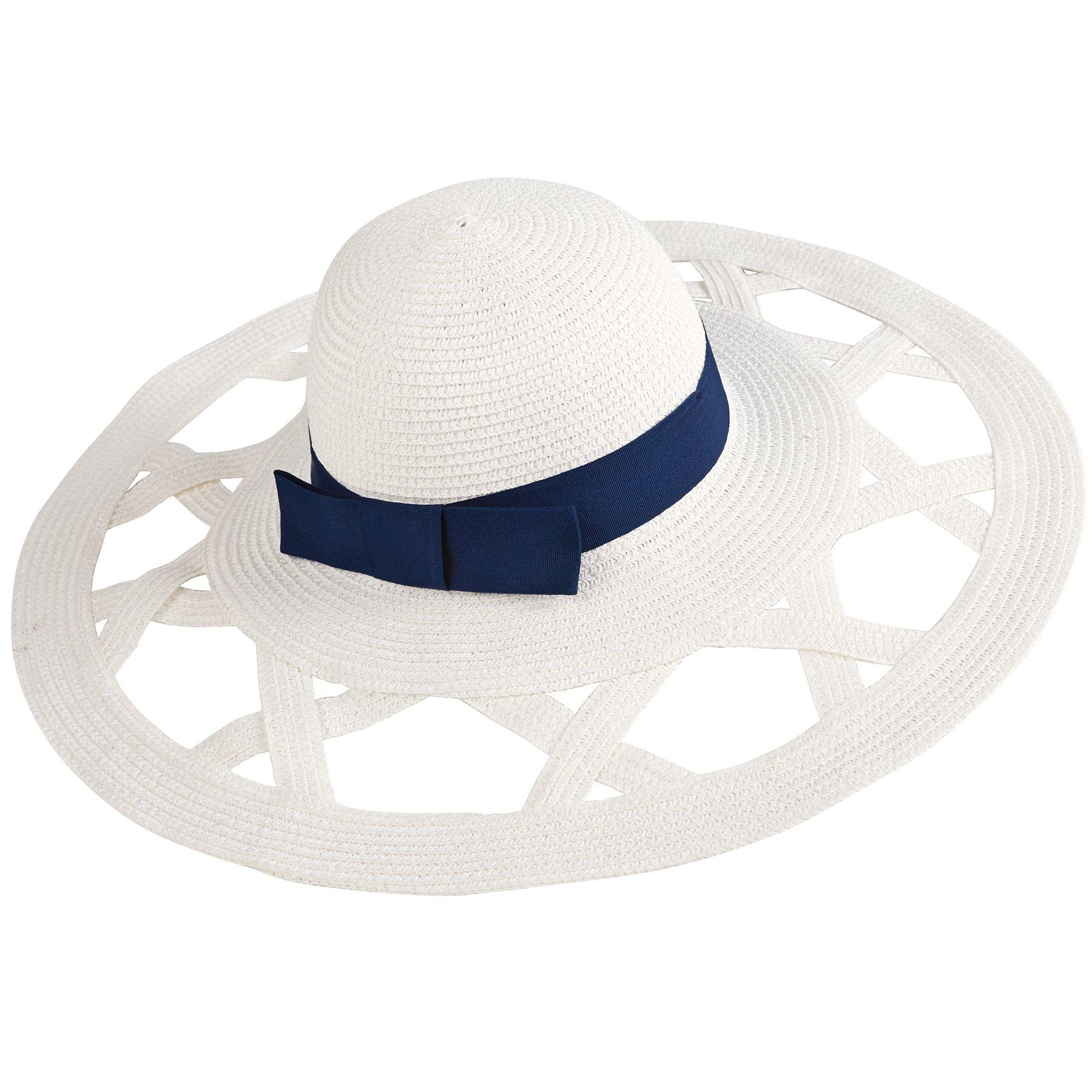 Mud Pie Women's Fashion Casey Sun Hat (White/Navy)