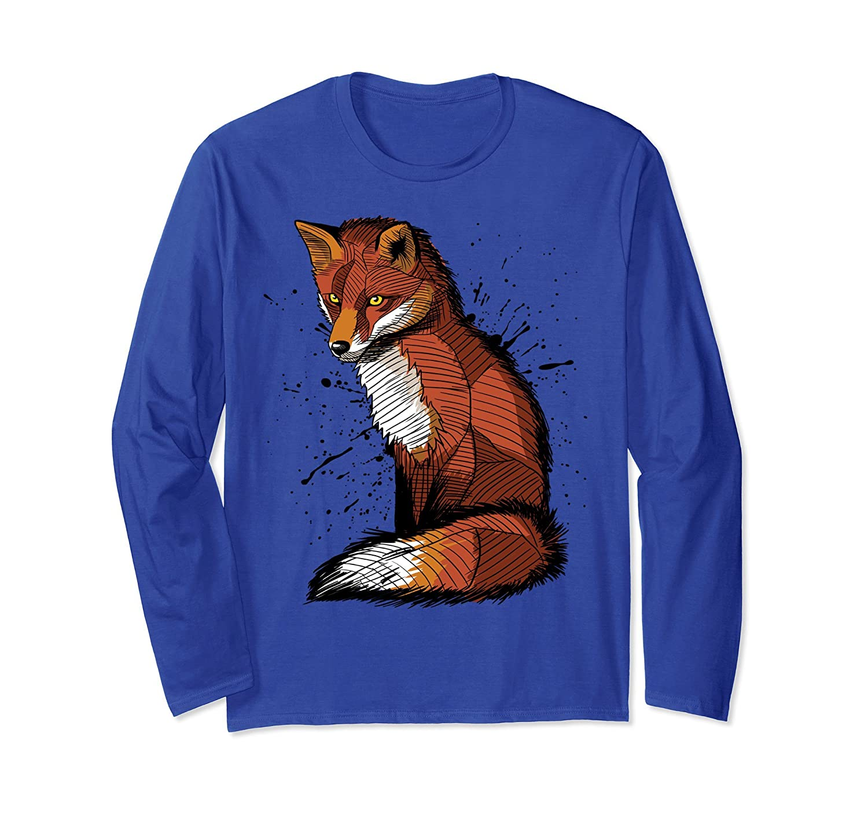 Stain Fox long - Sleeve t-shirt animal beautiful cute art-fa