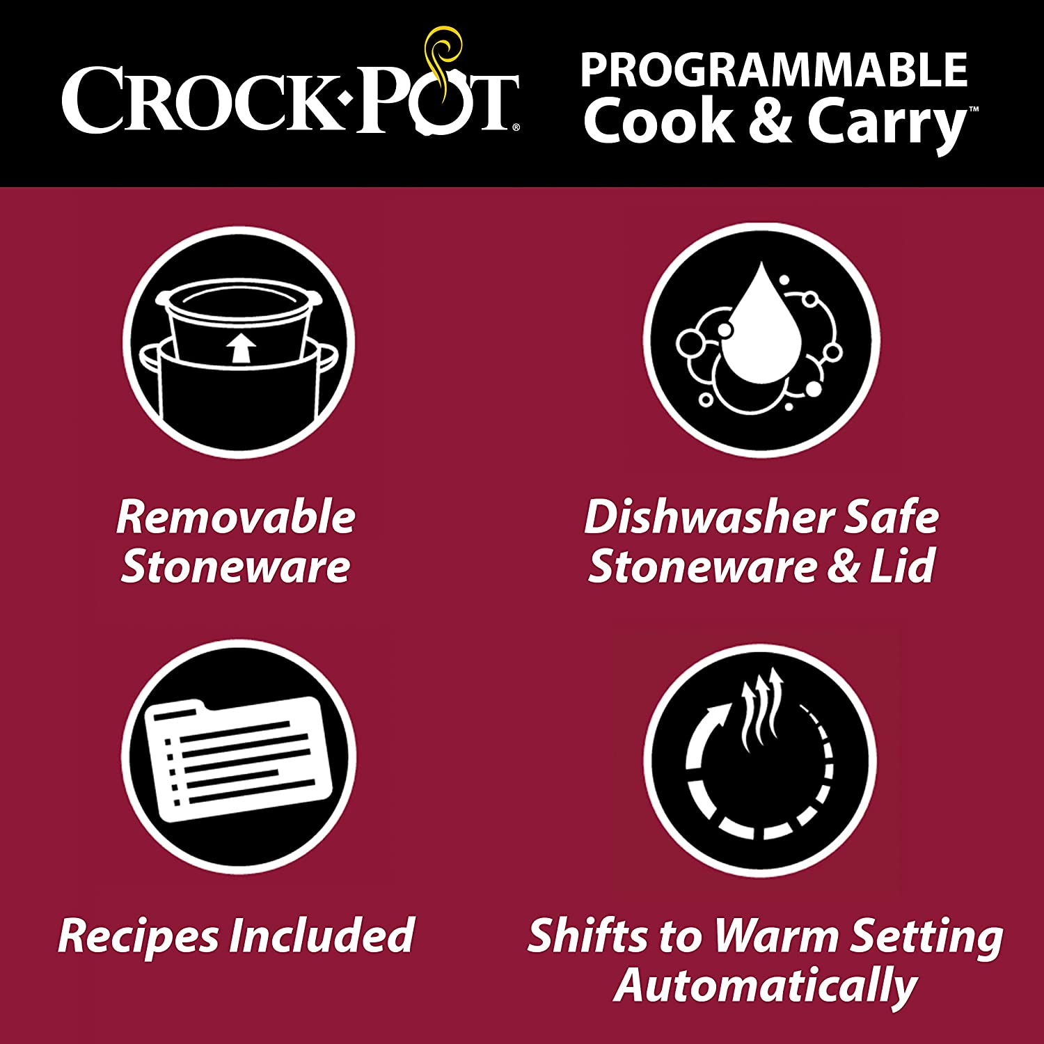Crock-Pot SCCPVL610-S-A 6-Quart Cook & Carry Programmable Slow Cooker with Digital Timer, Stainless Steel: Kitchen & Dining