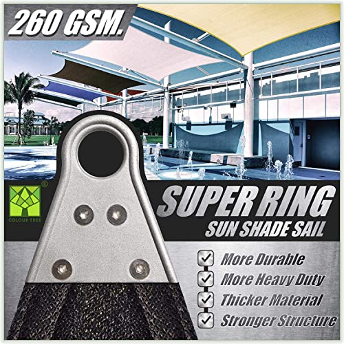 ColourTree 24' x 24' x 24' Black Triangle Super Ring Sun Shade Sail Canopy Structure