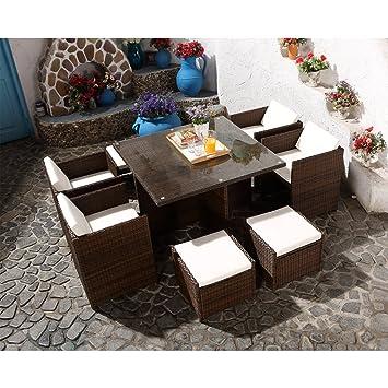 Concept-Usine Miami 8 Marron/Blanc : salon encastrable 8 personnes ...