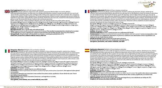 Vita World Multiplex Multivitamínico A - Z 100 Tabletas Made in Germany: Amazon.es: Salud y cuidado personal