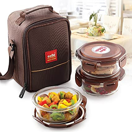 Details about  /Cello Seal O Fresh Borosilicate Microwavable Glass Lunch Box Set 3 Container