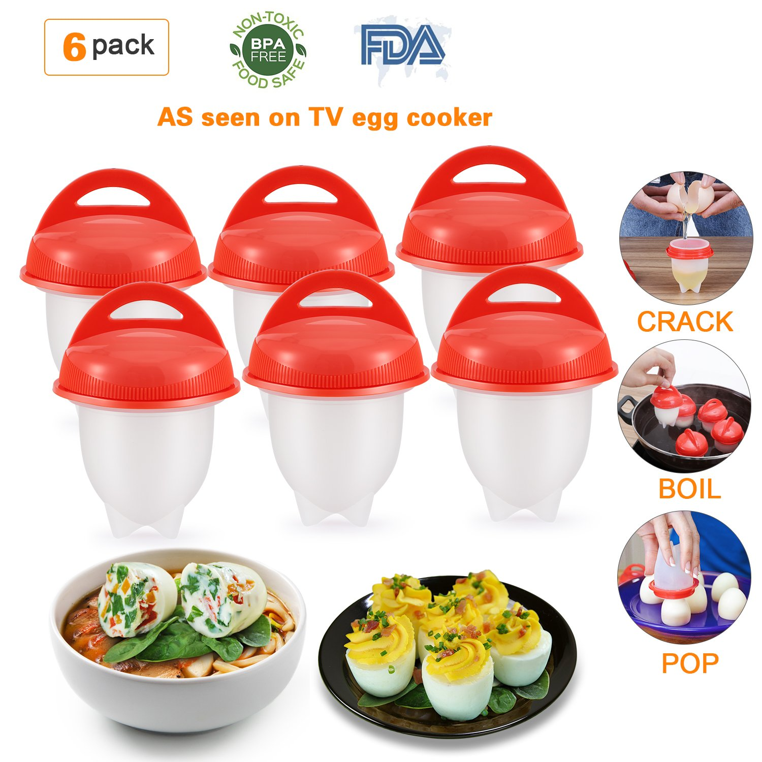 Silicone Egg Cooker Poaching Cup 6 Packs, Magicfly Hard Boiled Egg Maker Poucher without Shell Non Stick, BPA Free, As Seen On TV