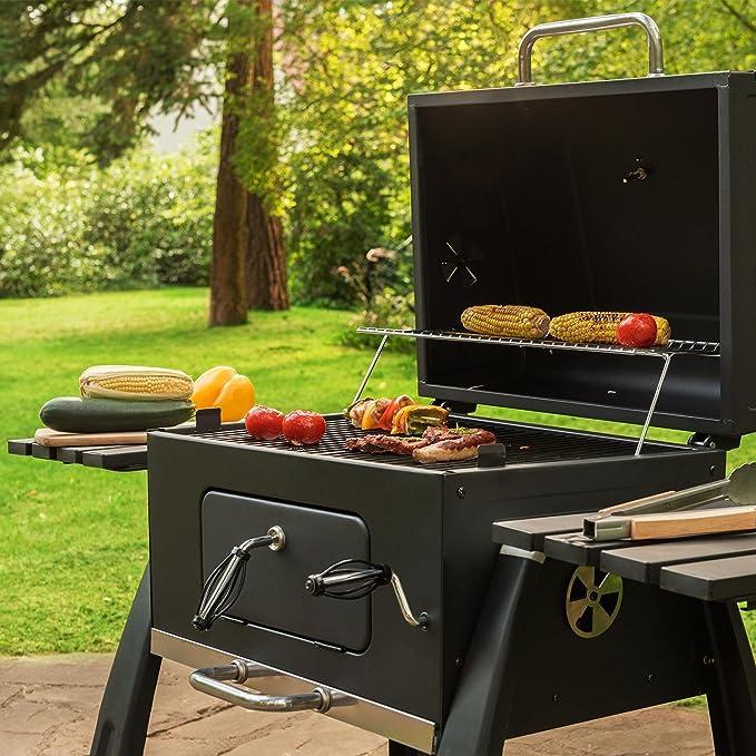 Klarstein - Smoker BBQ-Grill - Barbacoa de carbón, en acero ...