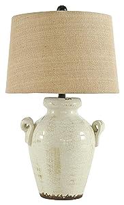 Ashley Furniture Signature Design -Emelda Farmhouse Ceramic Table Lamp, Cream