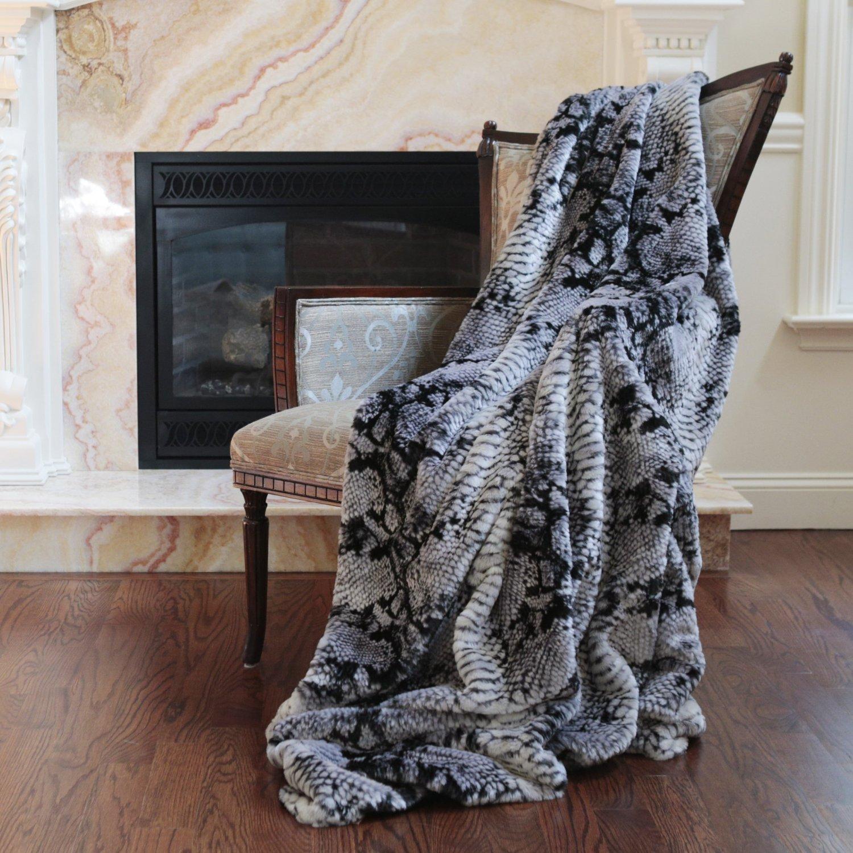 Best Home Fashion Faux Fur Throw - Lounge Blanket - Grey Snakeskin - 58''W x 60''L - (1 Throw) by Best Home Fashion