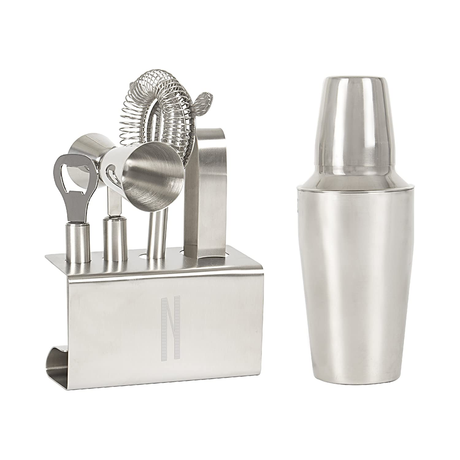 Letter N Cathys Concepts Personalized Stainless Steel Mixology Set