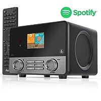 Hama Internetradio IR111MS (Spotify, WLAN/LAN, USB, Multiroom, 30 Favoritenplätze, beleuchtetes 2,6 Zoll Farbdisplay, integr. Radio-Wecker, mit Fernbedienung, gratis UNDOK Radio-App) schwarz