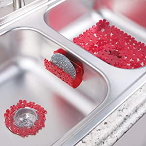mDesign Floral Kitchen Sink Protector Mat, Sponge Holder, Drain Strainer - Set of 3, Red