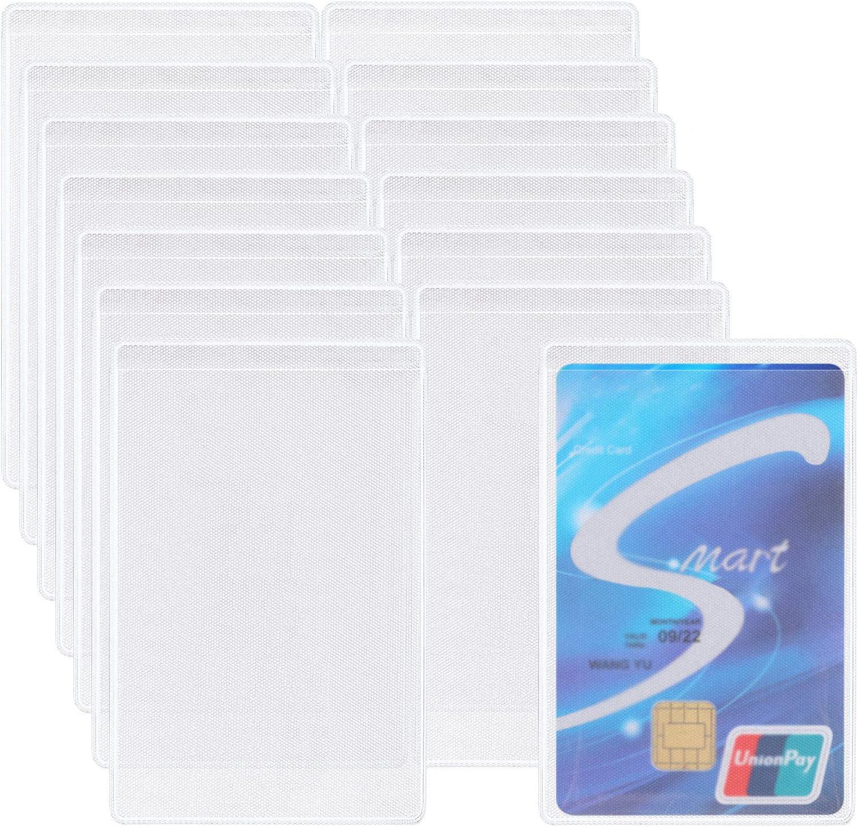 100 Piezas de Funda de Tarjeta de Crédito ID de Plástico Funda de Tarjeta de Oficina Vertical Protector de ID Helado