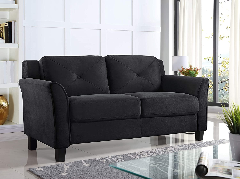 Surprising Lifestyle Solutions Harrington Loveseat Black Evergreenethics Interior Chair Design Evergreenethicsorg