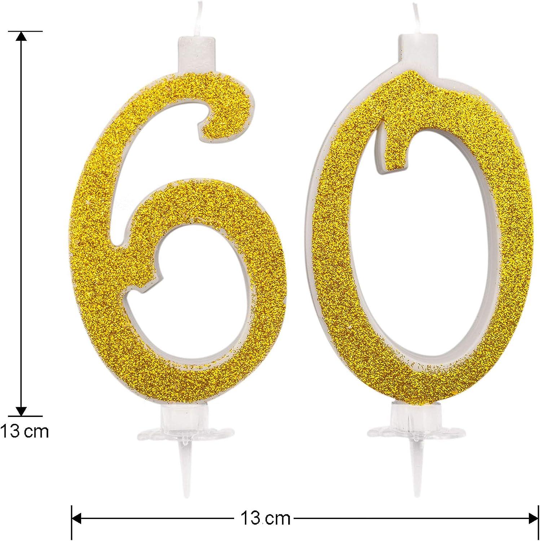 Velas Maxi 60 a/ños para Tarta Fiesta cumplea/ños 60 a/ños decoraci/ón Velas Feliz cumplea/ños Tarta 60 Altura 13 cm Oro Purpurina Fiesta tem/ática