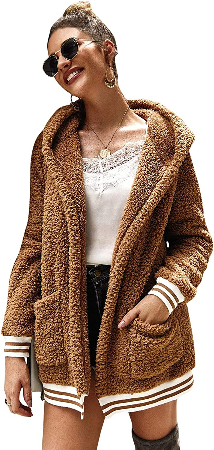 SheIn Womens Fauxs Fur Hooded Teddy Coat Long Sleeve Jacket Outwear