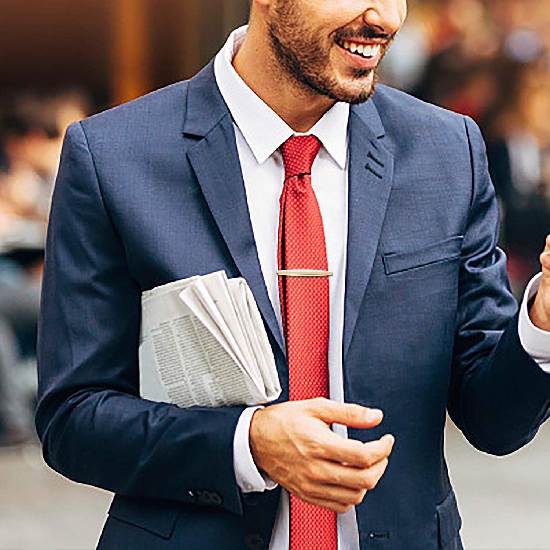 Thunaraz 8-12Pcs Tie Clips Set for Men Tie Bar Clip Set for Regular Ties Wedding Business Clips