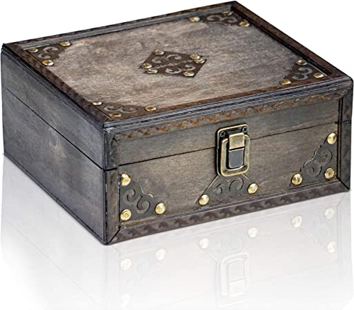 Brynnberg Caja de Madera Monk 20x18x9cm - Cofre del Tesoro Pirata de Estilo Vintage - Hecha a Mano - Diseño Retro - joyero: Amazon.es: Hogar