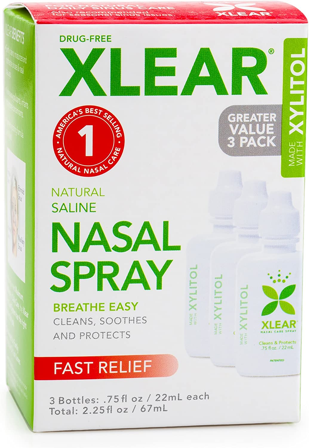 Xlear Saline Nasal Spray with Xylitol - 0.75 oz - 3 ct: Health & Personal Care