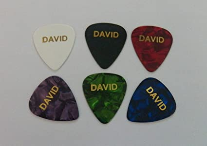 David Juego de 6 oro de celuloide impresión personalizada nombre ...